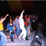 A typical Toots crowd, this one joining us on stage at Reggae On The River 2001